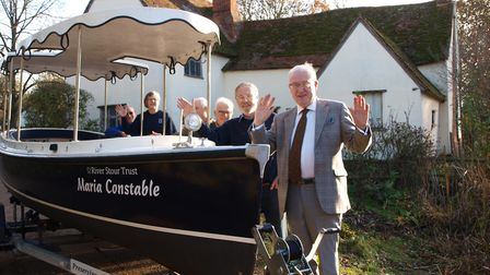Councillor Christopher Hudson and some of the River Stour Trust boat skippers, with the trusts new