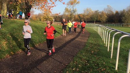 Runners follow the inside rail of the racecourse, at last Saturday's Pontefract parkrun in West York