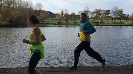 Runners approach the finish of last Saturday's Pontefract parkrun, with a circuit of the boating lak
