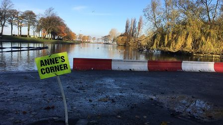 A turn on the Pontefract parkrun route, in front of the boating lake. Picture: CARL MARSTON