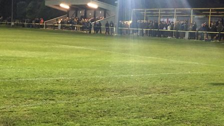 The floodlit scene at Greens Meadow on Tuesday night, with the much-improved playing surface. Pictur