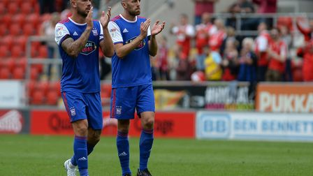 Luke Chambers and Cole Skuse after the defeat at Rotherham. Photo: Pagepix