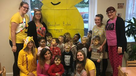 Children at the Buzzbee Babes Ipswich nursey celebrate with a giant Pudsey they have made Picture: K