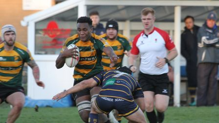 Tui Uru, in action in Bury's last outing, a home defeat to Worthing. Uru will operate at No. 8 away