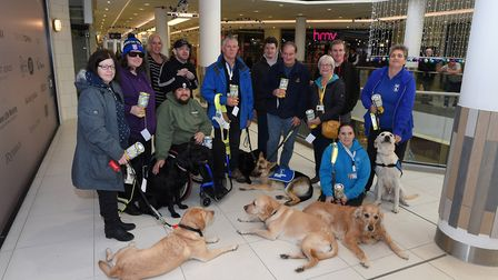 Members of the East and Mid-Suffolk branch of the Guide Dogs for the Blind team at the Sailmakers Pi