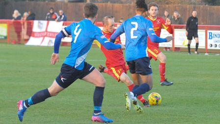 Adam Mills teases the Stratford defence during his man of the match performance Photo: BEN POOLEY