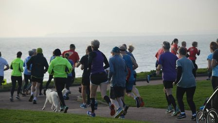 Runners head off down to the promenade from Dovercourt Cliff Park. Picture: HARWICH PARKRUN FACEBOOK