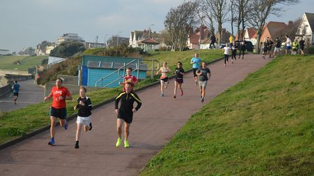 The fastest section of the Harwich parkrun course as runners make their way down to the promenade. P