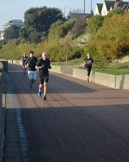 Approaching the finish of the Harwich parkrun, which attracted a field of 117 on Saturday morning. P