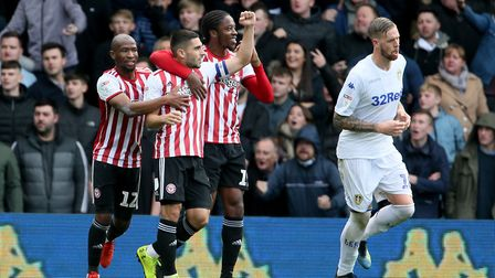 Brentford's Neal Maupay (second left) celebrates after scoring. Picture: PA