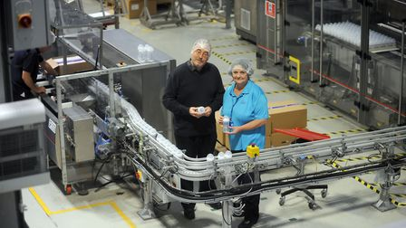 Philips Avent in Glemsford. General manager, Walter Mattis and Pauline Sparkes (pic taken in 2014).
