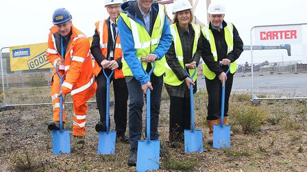 Breaking the ground at the site of the Galloper Operations & Maintenance Base are (from left): Colin