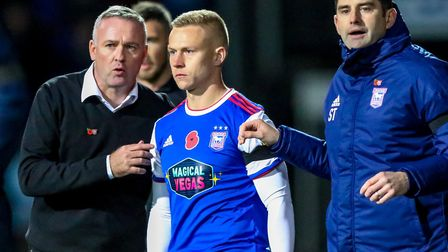 Danny Rowe is given instructions by Ipswich Town manager Paul Hurst and his assistant Stuart Taylor