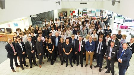 The panellists and students at the West Suffolk College Global Enterprise Week Picture: WEST SUFFOL
