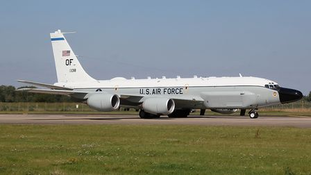 An RC-135 aircraft pictured at RAF Mildenhall, which is set to lose hundreds of US Air Force staff a