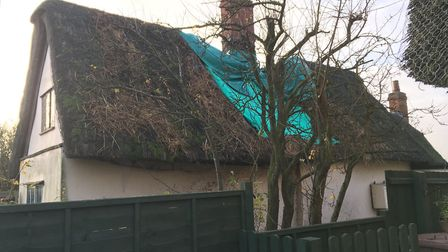 Most of the thatched roof is undamaged by fire Picture:MARIAM GHAEMI