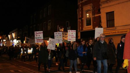Protesters at the Reclaim the Night march in Colchester Picture: MEGAN SALIU