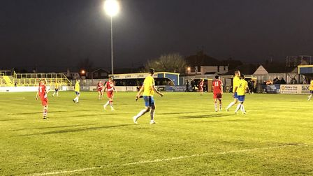Canvey Island (red) and AFC Sudbury in action at Canvey on Saturday Photo: DARREN THEOBALD