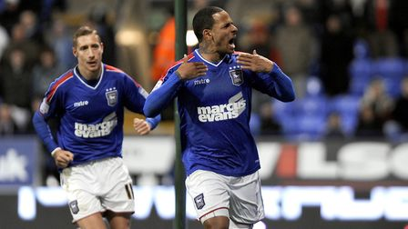 DJ Campbell scored the goals to move Ipswich away from the bottom of the table in 2012/13. Picture: