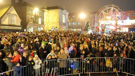 Crowds gather for the Bury St Edmunds Christmas lights switched on. Picture: GREGG BROWN