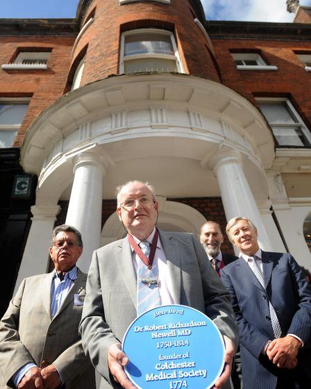 Dr Fabrizio Casale, the Colchester Medical Society's archivist, on Head Street, the site of a new bl
