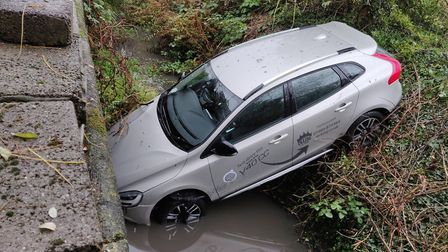 The new Volvo V40 CC was driven in the wrong direction out of a car park in Framlingham, into the ri