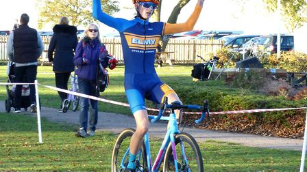 Colchester rider Cam Hurst (XRT/Elmy Cycles) takes the win. Picture: FERGUS MUIR
