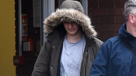 Cohan Semple (hooded jacket) leaving Ipswich Magistrates Court Picture: ARCHANT