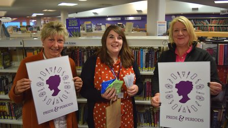 Gail Kerrison, Sarah Lungley and Sharon Harkin at the Pride and Periods launch Picture: SUFFOLK LIB