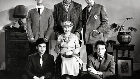 The cast of the Ealing Comedy The Ladykillers featuring Alec Guiness, Katie Johnson, Herbert Lom and