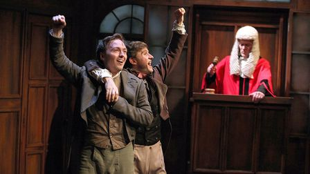 Joseph Prowen as William Hone, Peter Losasso as Cruickshank and Nicholas Murchie as Justice Abbot in