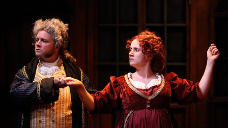 Dan Tetsell as Lord Ellenborough and Helena Antoniou as Lady Hertford in the political satire Trial
