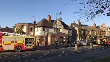 There were reports of large volumes of smoke coming from the old While Lion pub in Newmarket. Pictur