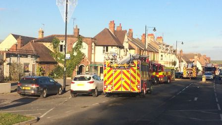 Fire crews are at the scene of a fire at the former While Lion pub in Newmarket Picture: MILDENHALL