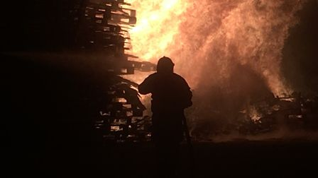 The blaze at the Stowmarket fireworks show had to be contained by firefighters. Picture: ARCHANT