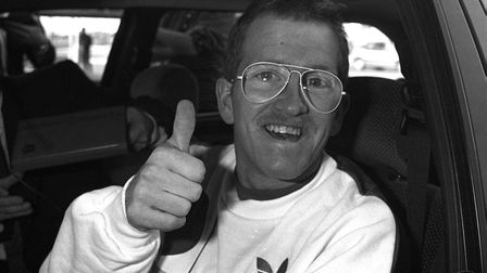 """EDDIE """"THE EAGLE"""" EDWARDS GIVES THE THUMBS UP FOR HIS ASSAULT ON THE BRITISH PUBLIC NOW THAT HE HAS"""