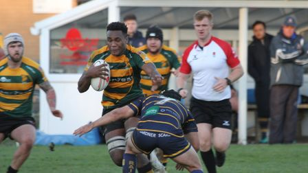 Action from Bury St Edmunds' home defeat to Worthing on Saturday. Tui Uru runs with the ball. Pictur