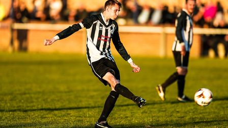 Chris Sillett hit the post for Benhall in their 4-0 win over Leiston St Margarets. Picture: STEVE WA