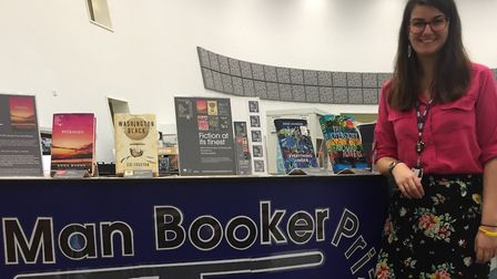 Maria Tricker with her winning library display Picture: SUFFOLK ONE