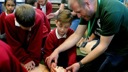 Youngsters learn CPR at Hardwick Primary Picture: ANDY ABBOTT