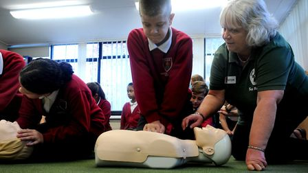 Suffolk Accident Rescue Service (SARS) experts teaching pupils lifesaving skills Picture: ANDY ABBOT