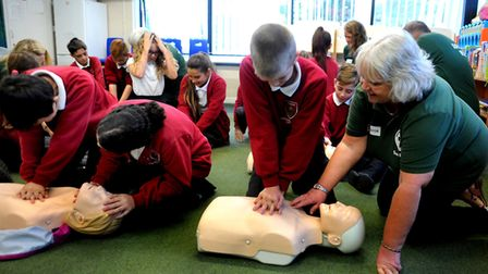 Youngsters learn CPR Picture: ANDY ABBOTT