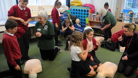 Lifesaving skills were brought into the classroom at Hardwick and Rougham primary schools thanks to