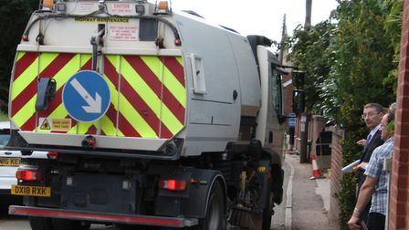 A road sweeper struggled to pass along Swan Street while an inspection was being carried out. Pictur