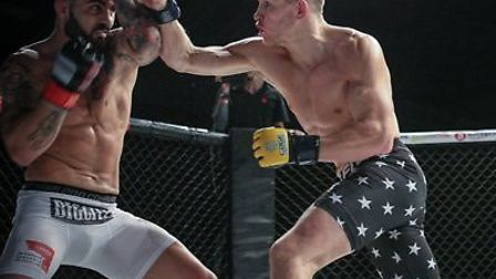 Steve Aimable, right, in action. He'll fight Josh Abraham at Cage Warriors 99 in Colchester on Novem