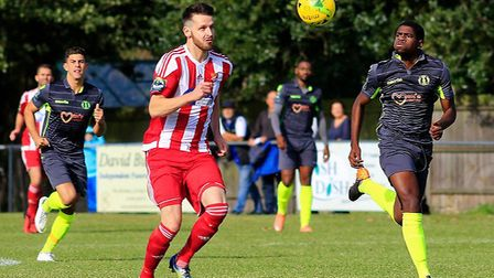 Miles Powell a picture of concentration as he heads for goal against Grays earlier this season in Th
