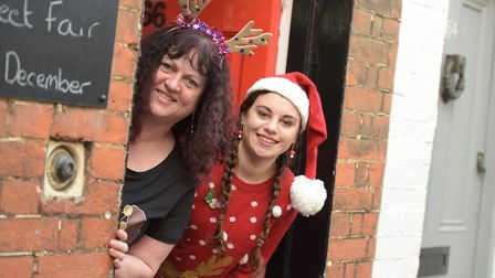 Jules and Jess Button feeling festive at the fayre Picture: SARAH LUCY BROWN