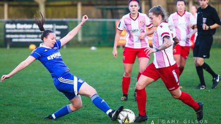Jac Ball goes in for a tackle during the Blues 2-1 defeat Picture: AMY GILSON