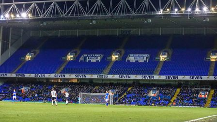 An empty top tier as supporters stayed away from the Ipswich Town v Sheffield United game. Pictur