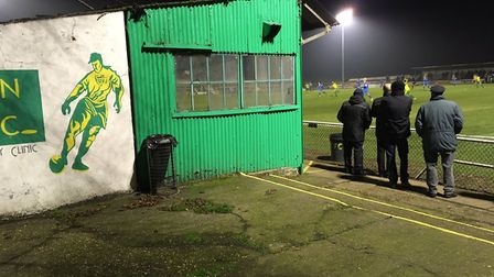 The rather dilapidated stand at Top Field, which houses the press box. The ground actually oozes per